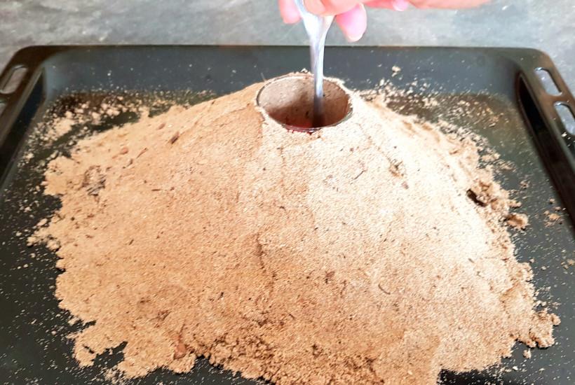 mélanger le cratère du volcan