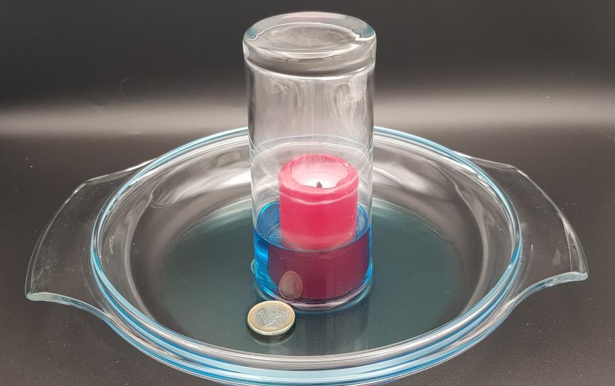 faire monter l'eau dans un verre avec une bougie