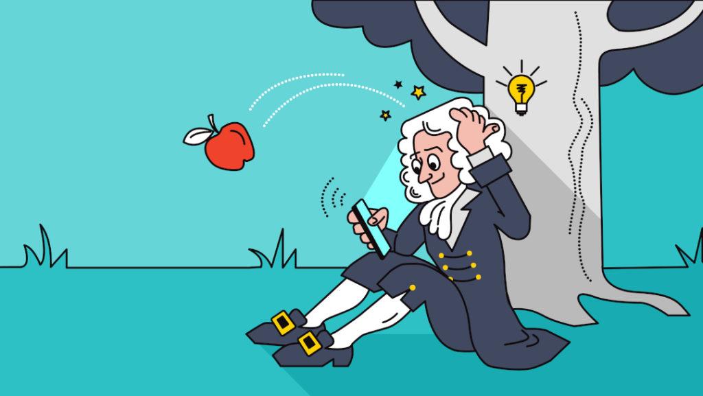 isaac newton père de la gravite recevant un pomme sur la tete