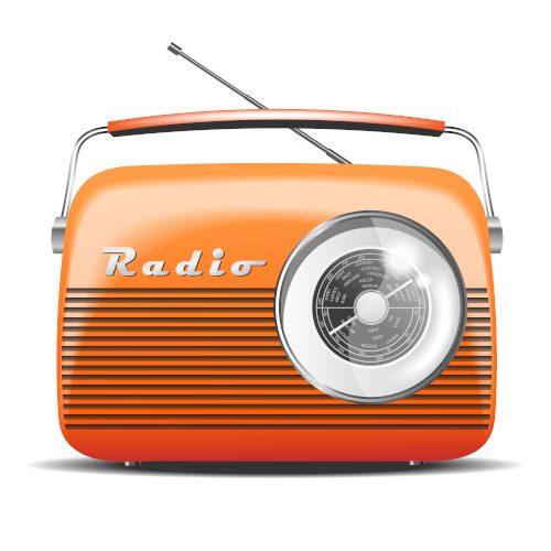 Orange,Retro,Radio.,Vintage.,Vector,Illustration